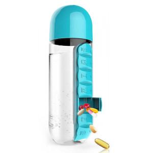 Παγούρι νερού TMV-0036 με ενσωματωμένη θήκη για χάπια, 600ml, μπλε TMV-0036