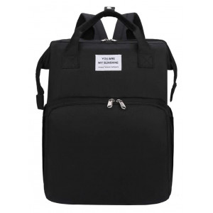 2 in 1 τσάντα πλάτης και παιδικό κρεβατάκι TMV-0048, αδιάβροχη, μαύρη TMV-0048