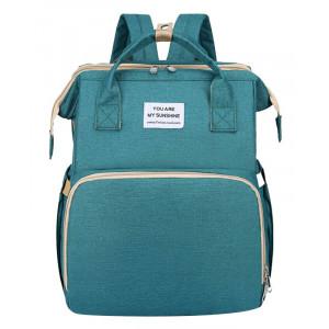 2 in 1 τσάντα πλάτης και παιδικό κρεβατάκι TMV-0050, αδιάβροχη, πράσινη TMV-0050