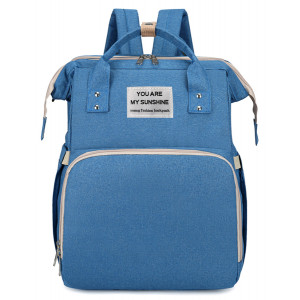 2 in 1 τσάντα πλάτης και παιδικό κρεβατάκι TMV-0052, αδιάβροχη, μπλε TMV-0052