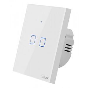 SONOFF smart διακόπτης ΤΧ-T2EU2C, αφής, διπλός, λευκός TX-T2EU2C