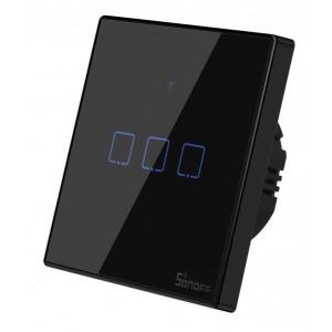 SONOFF smart διακόπτης ΤΧ-T3EU3C, αφής, τριπλός, μαύρος TX-T3EU3C