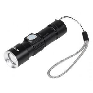 VIPOW φακός URZ0914 με ζουμ, 3W 120 lumen, μεταλλικός, μαύρος URZ0914