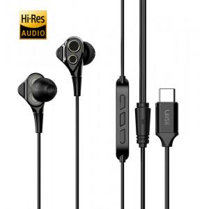 UIISII Earphones C8, Type C, Dual dinamic, mic, 102db, 1.2m, μαύρα US-C8-BK