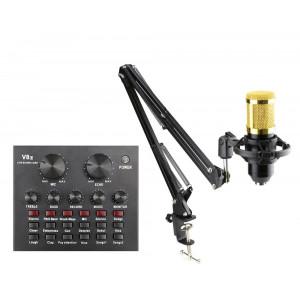Επαγγελματικό πυκνωτικό μικρόφωνο με κονσόλα V8-CONT-SET, μαύρο-χρυσό V8-CONT-SET