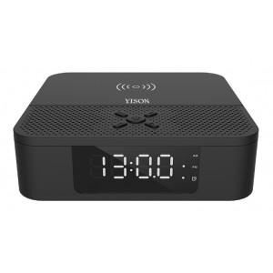 YISON Ξυπνητήρι WS-5, Βluetooth 5.0, ασύρματη φόρτιση, 2x 3W, LED, μαύρο WS-5