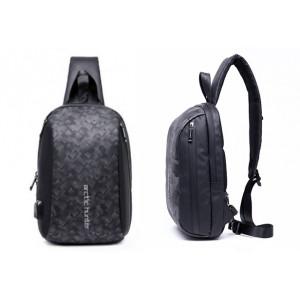 ARCTIC HUNTER Τσάντα Crossbody XB-00081-BK, USB, αδιάβροχη, μαύρη-grid XB-00081-BKG