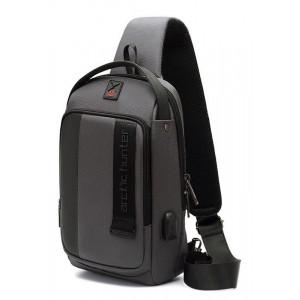 ARCTIC HUNTER Τσάντα Crossbody XB00100-GY, USB, αδιάβροχη, γκρι XB00100-GY