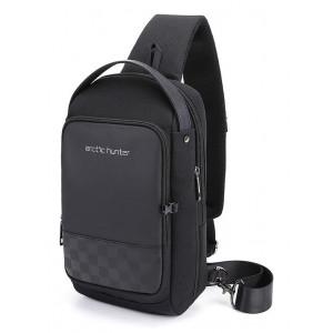 ARCTIC HUNTER Τσάντα Crossbody XB00105-BK, USB, αδιάβροχη, μαύρο XB00105-BK