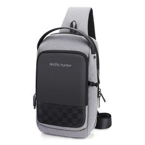 ARCTIC HUNTER Τσάντα Crossbody XB00105-BK, USB, αδιάβροχη, γκρι XB00105-GY
