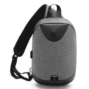ARCTIC HUNTER τσάντα Crossbody XB0049-LG, tablet, αδιάβροχη, USB, σκούρο γκρι XB0049-DG