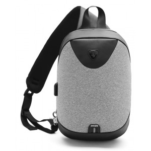 ARCTIC HUNTER τσάντα Crossbody XB0049-LG, tablet, αδιάβροχη, USB, γκρι XB0049-LG