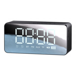USAMS multi-functional ρολόι & ηχείο YX7LY01, BT5.0/3.5mm/SD card, μαύρο YX7LY01