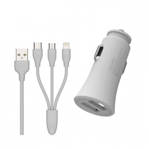 Car Charger WK 2.4A USBx2 With 3in1 charging cable White WP-C13