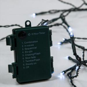 ΣΕΙΡΑ ΜΠΑΤΑΡΙΑΣ, 96 LED 5mm, 4.5V, 8 ΠΡΟΓΡΑΜΜΑΤΑ, ΧΡΟΝΟΔΙΑΚΟΠΤΗΣ, ΠΡΑΣΙΝΟ ΚΑΛΩΔΙΟ, ΛΕΥΚΟ LED, ANA 10cm, ΙΡ44 600-11120