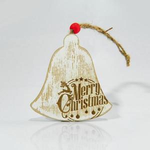 ΚΑΜΠΑΝΑ, ΞΥΛΙΝΗ ΚΡΕΜΑΣΤΗ, MERRY CHRISTMAS, 9x9x1cm. 600-40454