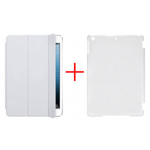 Smart Case for Apple iPad Air White - Front Cover + Faceplate Case Transparent 10020