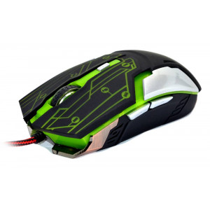 Wired Mouse R-horse RH-1990 Robocop Series 5 Button 3200 DPI Black - Green (120*70*35mm) 17298