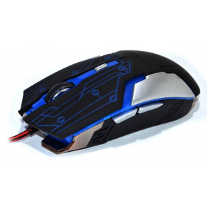 Wired Mouse R-horse RH-1990 Robocop Series 5 Button 3200 DPI Black - Blue (120*70*35mm) 17299