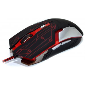 Wired Mouse R-horse RH-1990 Robocop Series 5 Button 3200 DPI Black - Red (120*70*35mm) 17300