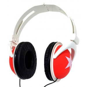 Star Foldable Stereo Headphone 3.5 mm Red for mp3, mp4 and Sound Devices Polybag 20309