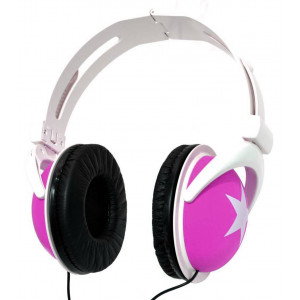 Star Foldable Stereo Headphone 3.5 mm Pink for mp3, mp4 and Sound Devices Polybag 20310