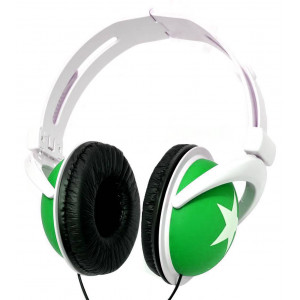 Star Foldable Stereo Headphone 3.5 mm Green for mp3, mp4 and Sound Devices Polybag 20311