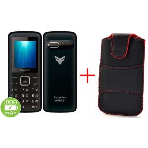 FlameFox Simple1 (Dual Sim) with Bluetooth, Camera, FM Radio, Led Torch GR + Case 20860