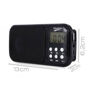 Φορητό Ηχείο Musky HJ-92 2.3W Μαύρο με Ραδιόφωνο, Ξυπνητήρι, Φακό, Audio-In και Υποδοχή USB 21818