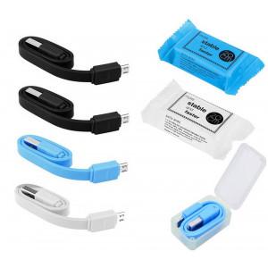 Καλώδιο σύνδεσης Jasper Candy USB σε Micro USB 20cm Σετ 4 Τεμ Διάφορα Χρώματα 21846