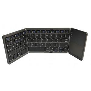 Πληκτρολόγιο Mini Bluetooth Magnetic Foldable με Touchpad All-in-One για Smartphone, Tablet, PC, και SmartTV Γκρι 22911