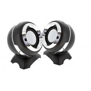 Ηχείο Stereo Multimedia Ezeey Q8 με σύνδεση 3.5mm και USB φόρτιση, 3W x 2, Μαύρο 24118