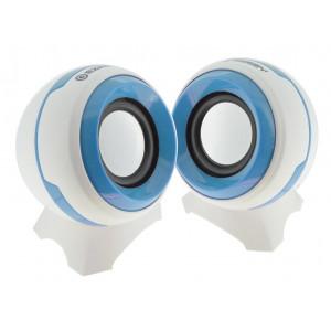 Ηχείο Stereo Multimedia Ezeey Q8 με σύνδεση 3.5mm και USB φόρτιση, 3W x 2, Λευκό - Μπλέ 24120