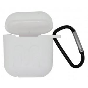 Θήκη Ancus Liquid Silicone Rubber για Airpods Λευκή με Γάνζτο Μεταφοράς 25274