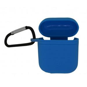 Θήκη Ancus Liquid Silicone Rubber για Airpods Μπλε με Γάνζτο Μεταφοράς 25275