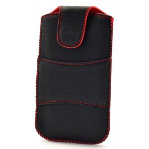 Θήκη Velcro για FlameFox Care1/ Maxcom MM715BB  Μαύρη με Κόκκινη Ραφή 25555