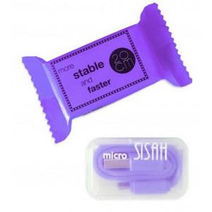 Καλώδιο σύνδεσης Jasper Candy USB σε Micro USB 20cm Μωβ 26307