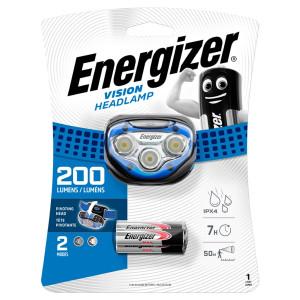 Φακός Κεφαλής Energizer Vision 2 Led 200 Lumens με Μπαταρίες AAA 3 Τεμ. Μπλέ 29026