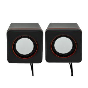 Ηχείο Stereo Multimedia Leerfei D-02L με σύνδεση 3.5mm και USB φόρτιση, Μαύρο Κόκκινο 29864