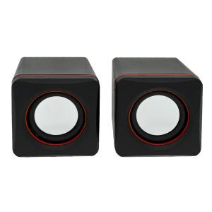 Ηχείο Stereo Multimedia Leerfei D-02A με σύνδεση 3.5mm και USB φόρτιση, 5W Μαύρο Κόκκινο 29865