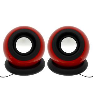 Ηχείο Stereo Multimedia Leerfei D-008 με σύνδεση 3.5mm και USB φόρτιση, Κόκκινο 29866