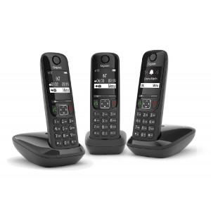 Ασύρματο Ψηφιακό Τηλέφωνο Gigaset AS690 Trio Μαύρο με Τρείς Βάσεις για Κάθε Ακουστικό 4250366854847