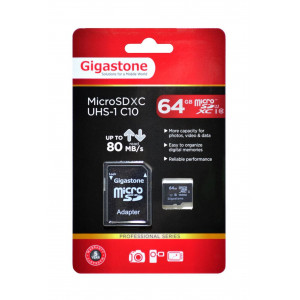 Flash Memory Card Gigastone MicroSDXC UHS-1 64GB C10 Professional Series with Adapter up to 80 MB/s* 4716814071445