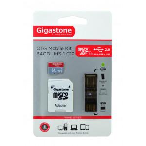 Κάρτα Μνήμης Gigastone MicroSDXC 64GB UHS-1 Class 10 Professional Series με SD Αντάπτορα + OTG Gigastone για Κάρτες Μνήμης Micro SD U102 4716814071643