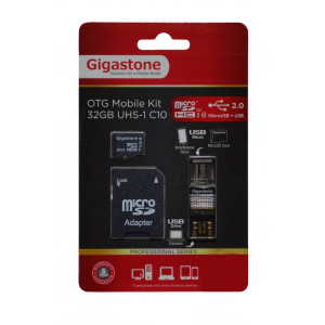 Flash Memory Card Gigastone MicroSDHC 32GB UHS-1 Class 10 Professional Series with SD Adapter + OTG Gigaston for MicroSD Memory Cards U102 4716814071933