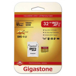 Flash Memory Card Gigastone MicroSDHC UHS-I U3 32GB U3 Extreme 633X Professional Series with Adapter up to 95 MB/s* 4716814072374