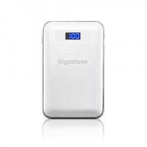 Power Bank Gigastone PB-7009W 9000mAh με Διπλή USB Έξοδο, με LCD Ενδείξεις και Φακό. Λευκό 4716814077805