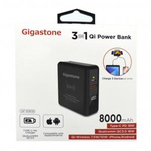 Φορτιστής - Power Bank - Qi-Wireless Charging Gigastone QP-8361B 8000mAh 3 σε 1, με Έξοδο USB, Type-C, LCD Ενδείξεις 18W για MacBook, PC Notebook, iOS & Android. Μαύρο 4716814079441