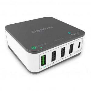 Φορτιστής Ταξιδίου Gigastone PD-6400G Multi Charger με 5 Εξόδους, 3 USB, 1 Type-C και 1 USB QC3.0 40W για MacBook, PC Notebook, iOS & Android Μαύρο - Λευκό 4716814079465