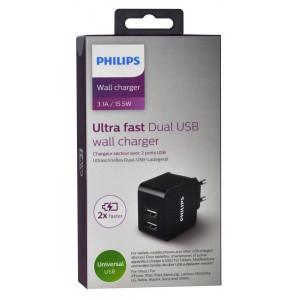 Φορτιστής Ταξιδίου Philips DLP2307 Dual USB 15.5W 3.1A Fast Charger 4895185614656